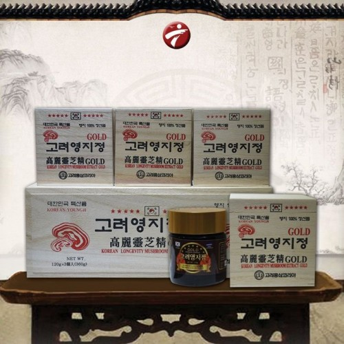 Cao Linh Chi Hàn Quốc (3lọ x 120g)-Hộp gỗ Trắng Gold L030