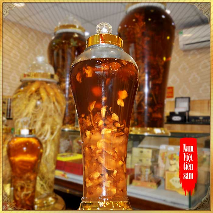 Bình ngâm sâm Ngọc Linh thái lát tẩm mật ong 6 lít loại 700gr sâm NS640