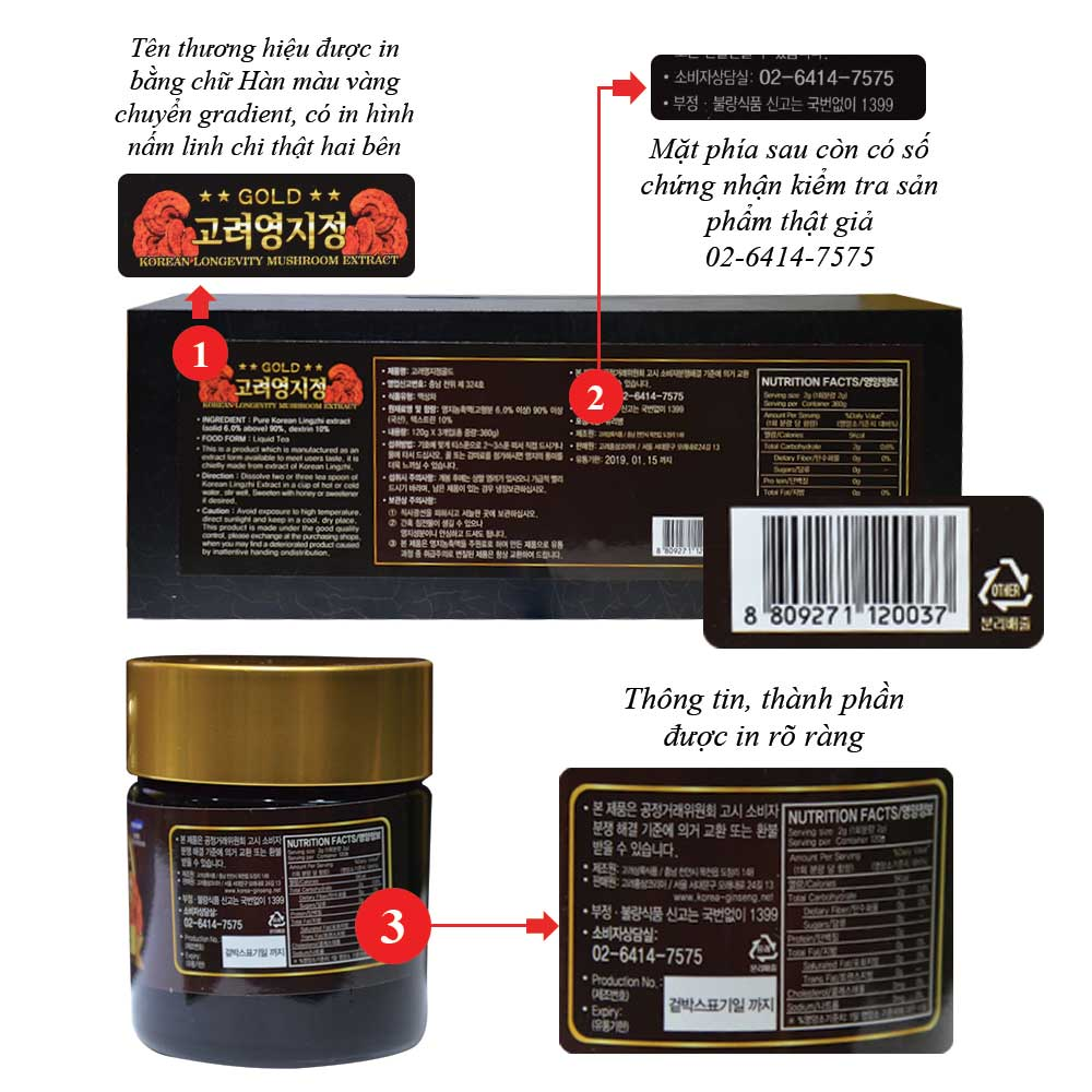 Cao Linh Chi Hàn Quốc (3lọ x 120g) - Hộp gỗ đen Gold L029 3