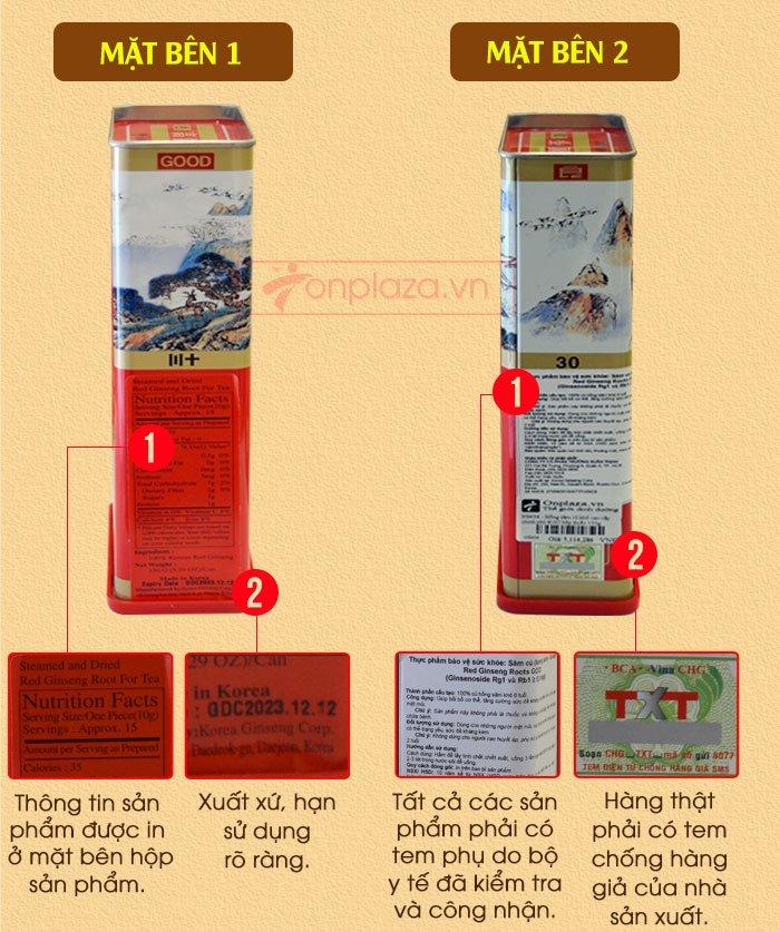 Hồng sâm củ khô cao cấp chính phủ KGC hộp thiếc 150g NS456 6