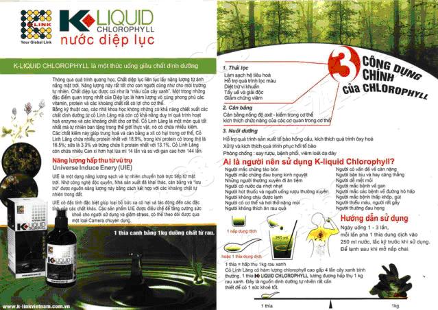Mặt trước của sản phẩm Nước diệp lục Klink K
