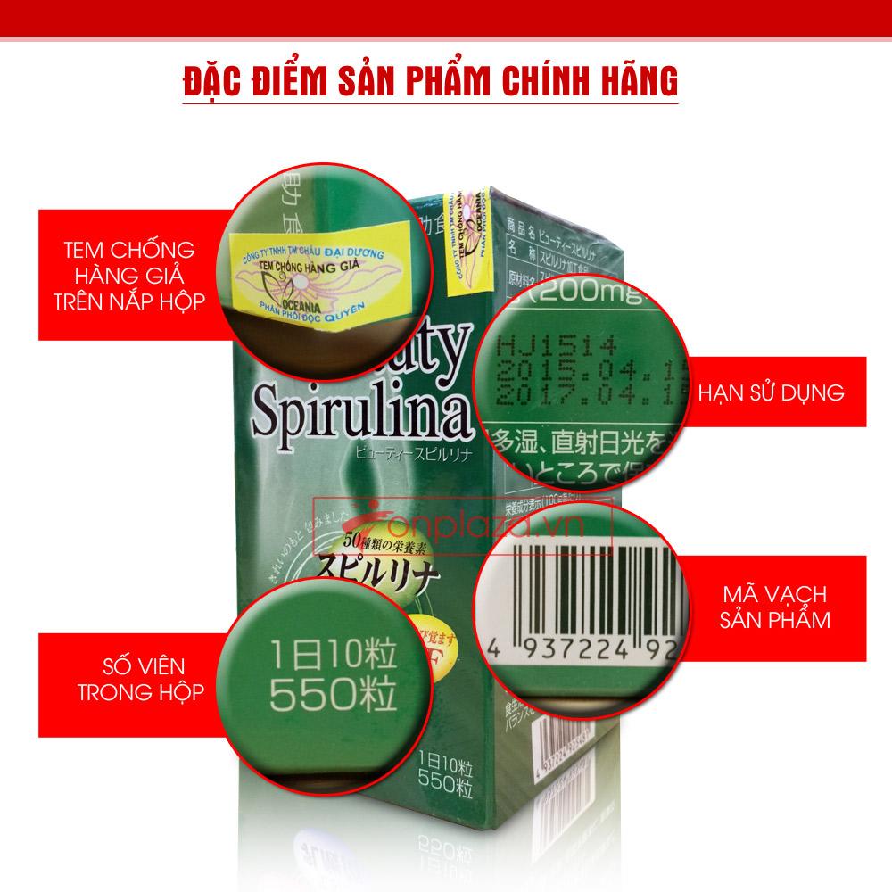 Tảo Beauty Spirulina Nhật Bản (550 viên/hộp) TC011 2