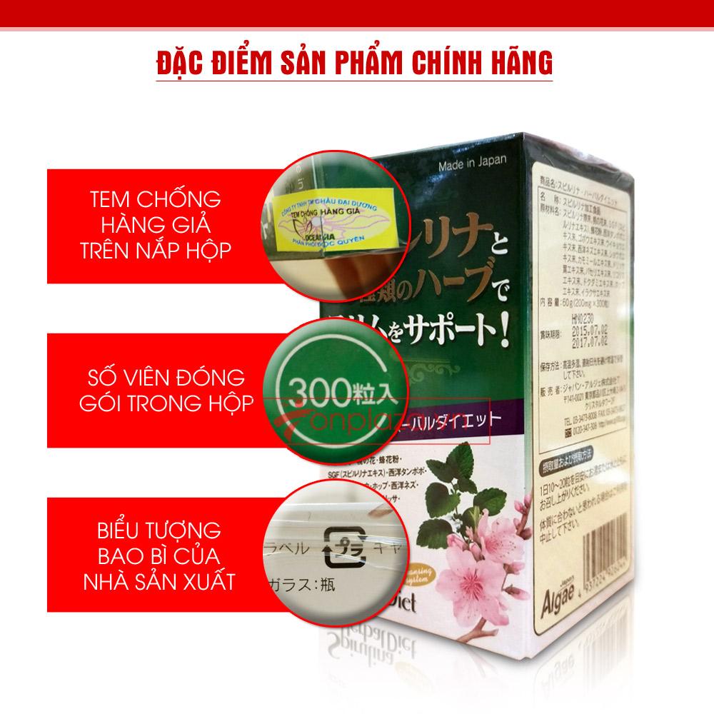 Tảo Spirulina Herbal Diet (300 viên/hộp) TC013 2