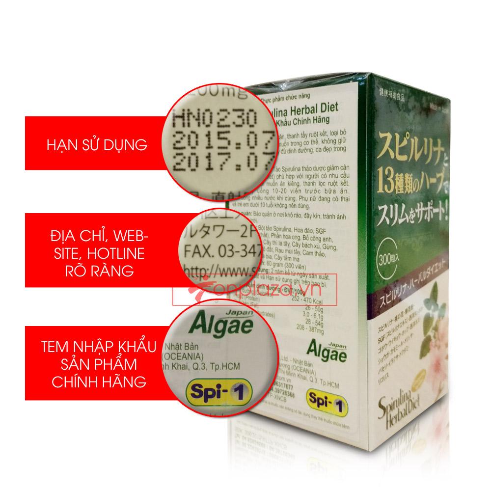 Tảo Spirulina Herbal Diet (300 viên/hộp) TC013 3