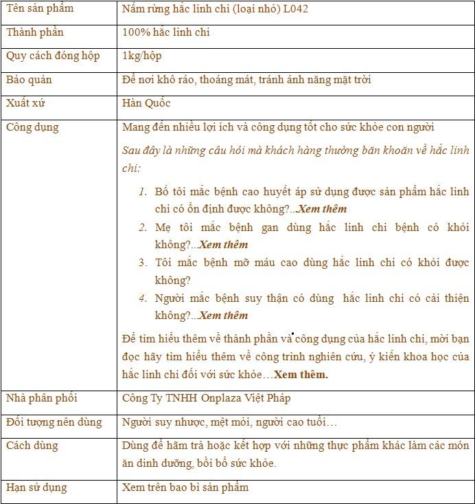 Thông tin nấm rừng hắc linh chi ( loại nhỏ) L042