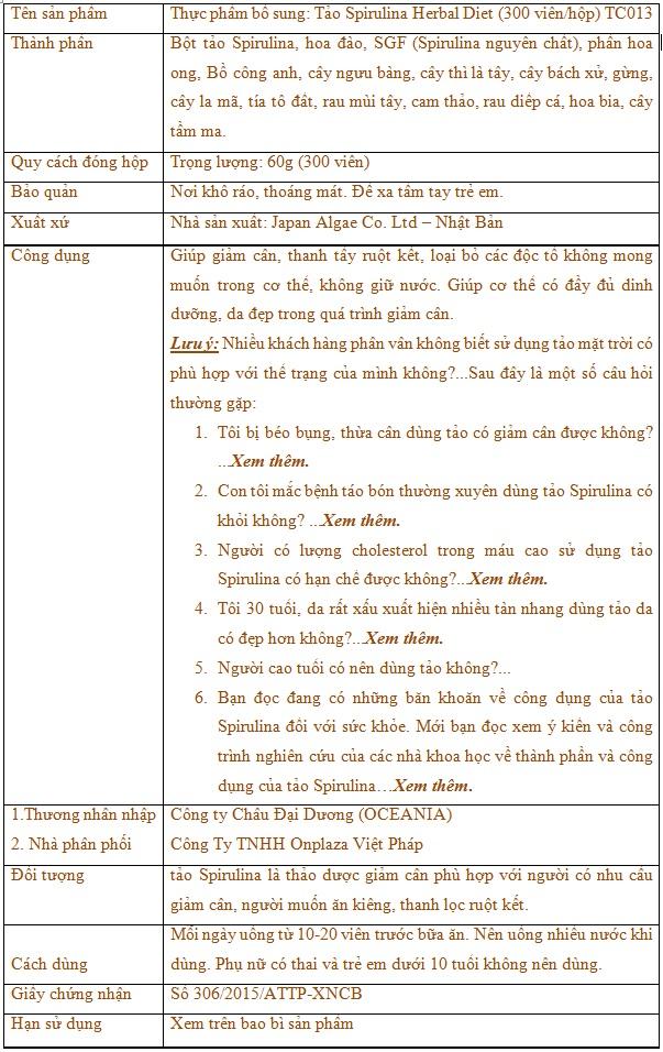 Tảo Spirulina Herbal Diet (300 viên/hộp) TC013 1