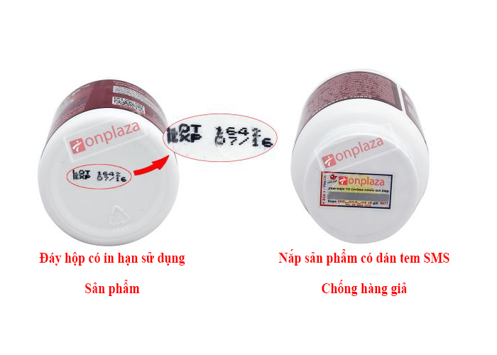 Đông trùng hạ thảo chính hãng dưới đáy hộp có ghi hạn sử dụng, nắp sản phẩm có dán tem sms